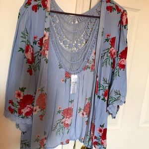 Light blue with red floral kimono